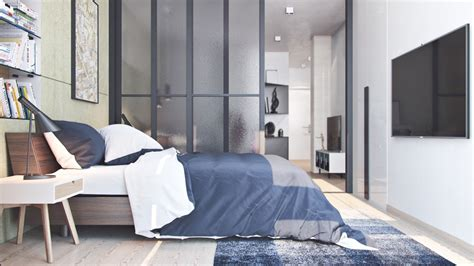 bedroom with glass walls frosted glass partition wall charcoal and white bedding