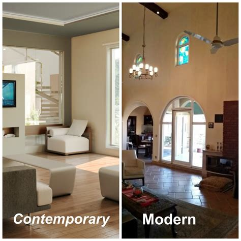 difference between modern and contemporary interior decor
