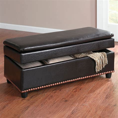 Leather Look Ottoman Wide Leather Look Ottoman With Studs Benches Ottomans Brylanehome