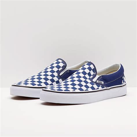 mens shoes vans classic slip  checkerboard estate