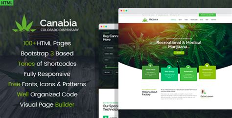 Canabia Medical Marijuana Dispensary Html Template By Wprollers Themeforest Dispensary Menu Template