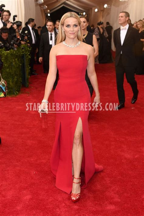 Reese Witherspoon Strapless Red Carpet Celebrity Dress at MET Gala 2015   StarCelebrityDresses