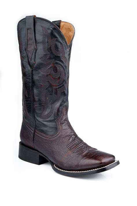 nib roper mens cowboy boots black cherry smooth ostrich