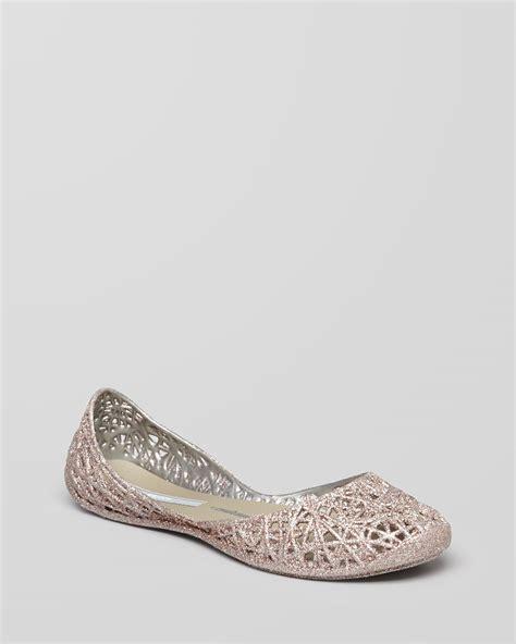 Flat Shoes Glit Silver 1 glitter jelly flats cana zig zag in silver lyst