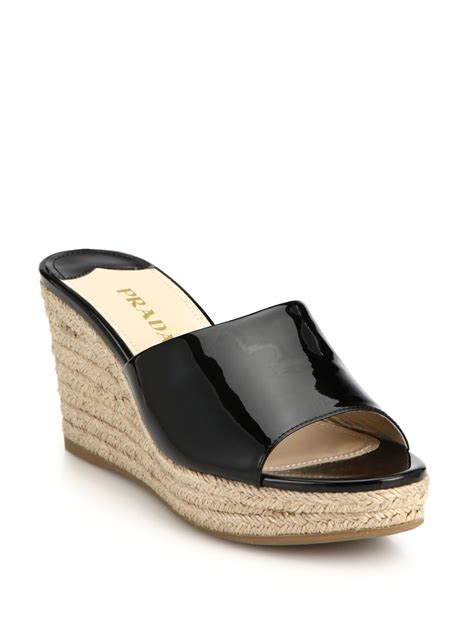 black mule sandals prada patent leather espadrille wedge mule sandals in