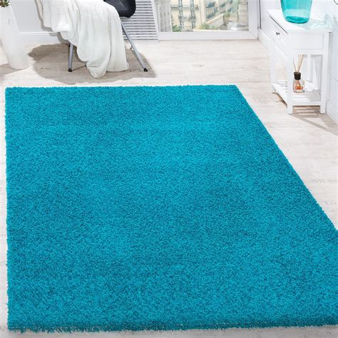 teppich 40x60 shaggy high pile sky rug one colour in turquoise carpets