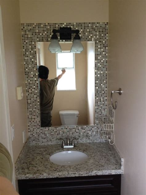 tile bathroom mirror frame build a mosaic tile mirror in the small bathroom
