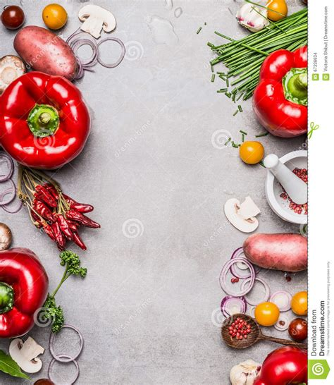 Kitchen Table With Leaf Red Paprika And Diverse Vegetables And Cooking Ingredients