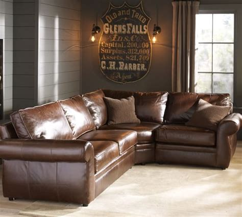 pottery barn leather sectional pearce leather 3 piece sectional with wedge pottery barn
