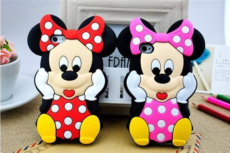 Cetakan Silicone Mickey Minnie 3d mickey minnie mouse soft silicone rubber cover for iphone 4 4s 5 5s 5c iphone 6 4 7 6