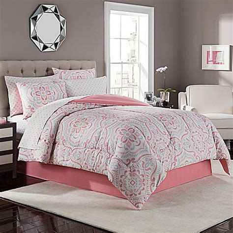 Coral And Grey Bedding Sets Juniper Comforter Set In Coral Grey Bed Bath Beyond