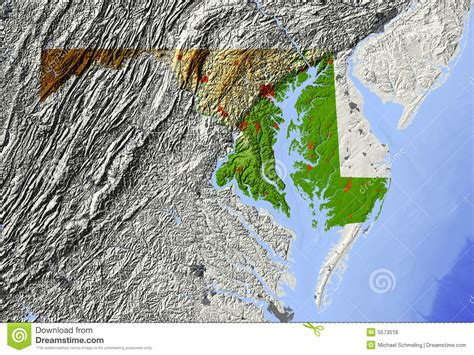 maryland relief map royalty  stock  image