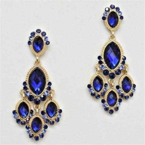 Blue Crystals Chandelier Earrings And Royal Blue On Pinterest Royal Blue Chandelier Earrings