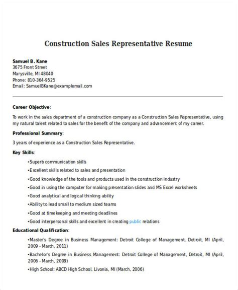 Construction Sle Resume by Best Sales Resume Free Premium Templates
