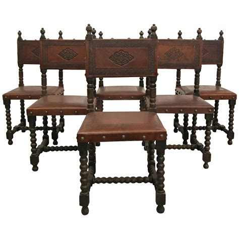 Colonial Dining Room Chairs Set Of Six Antique Colonial Sted Leather Dining