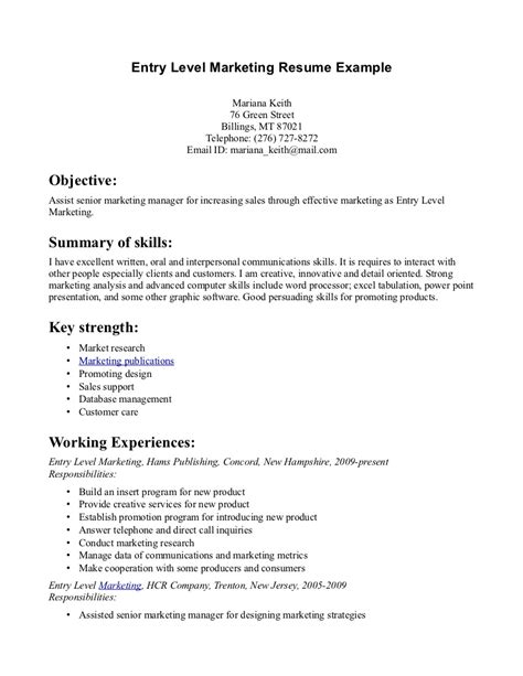 Sle Resume For Senior Management Position by Exles Of Resumes For Entry Level Resume