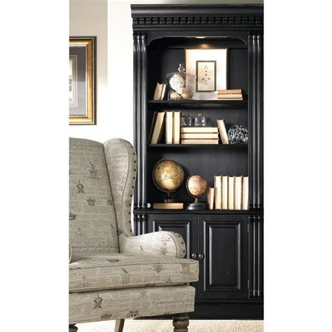 Black Bookcases With Doors Furniture Telluride Bunching Bookcase With Doors In Black 370 10 446