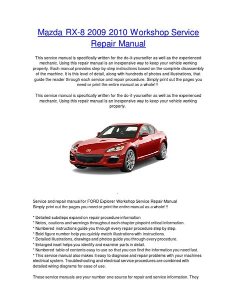 service manual pdf 2009 mazda rx 8 repair manual 2009