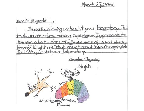 Thank You Note To 4th Grade Cbu School Of Sciences Newsletter November 2010