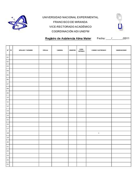 lista de asistencia formato en blanco registro de asistencia 2011