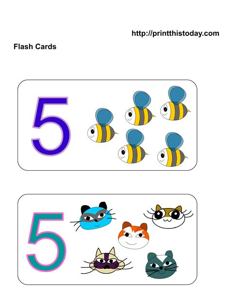 printable math number cards free kindergarten math worksheets number five 5