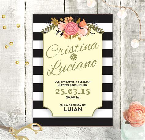 imagenes de flores blancas y negras invitaci 243 n de boda con fonde a rayas blancas y negras y