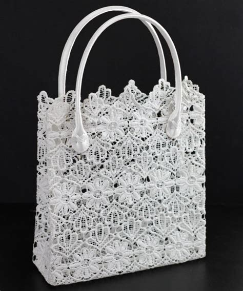 Lace Bag stiffened lace tote bag