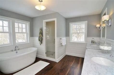 Wide Wainscoting by Bathroom White Wainscot Grey Walls Gray Walls Wide