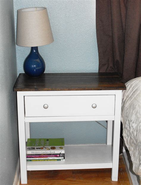 diy white bedside table with bookshelf storage and drawer