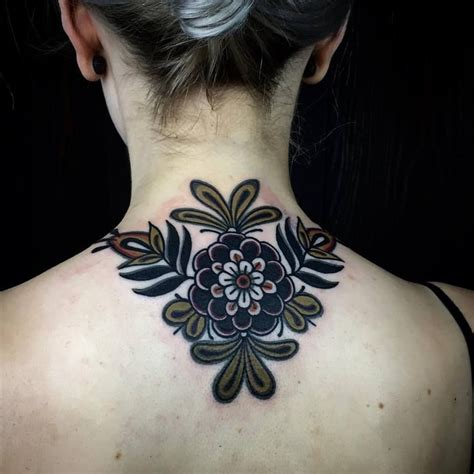 flower neck tattoos traditional flower neck by esther de miguel ink
