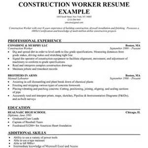 construction resume sle free contractor helper resume