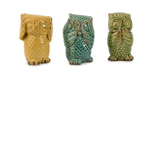 decorative home collection home decorators collection assorted wise owls decorative figurines in multi set of 3