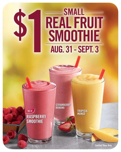 1 fruit smoothie a day burger king labor day sale only 1 fruit smoothies