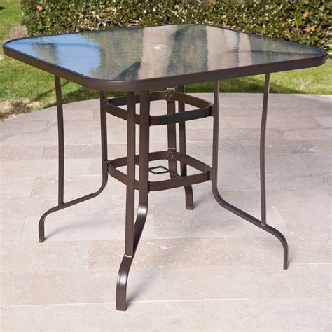 glass top outdoor table 40 inch outdoor patio dining table with glass top and