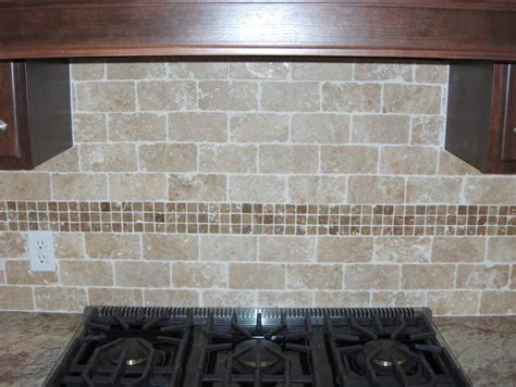 kitchen tile backsplash on travertine above
