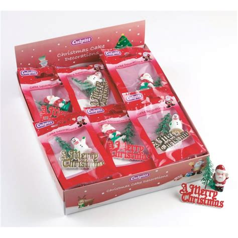 christmas cake decoration santa tree motto plastic