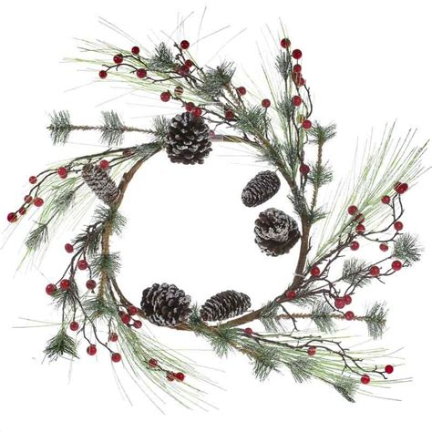 artificial frosted pine and berry wreath wall art