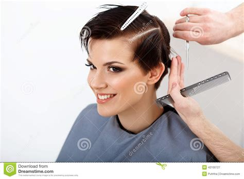Hairdresser Doing Hairstyle. Brunette With Short Hair In Hair Sa Stock Photo   Image: 42100727