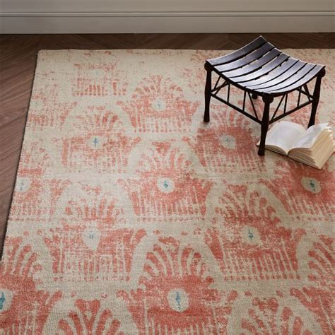 west elm ikat rug distressed floating ikat wool rug guava west elm