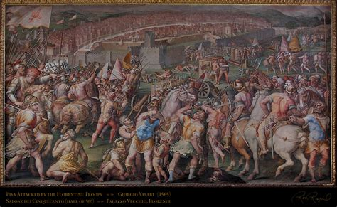 vasari s pisa attacked by the florentine troops painted by