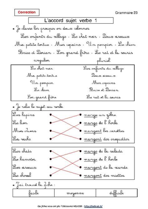 Accord Sujet Verbe Ce1 Grammaire Exercices Corrig 233 S Coloriage Magique Ce2 Fran Ais L