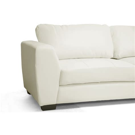 white facing orland white leather modern sectional sofa set with right