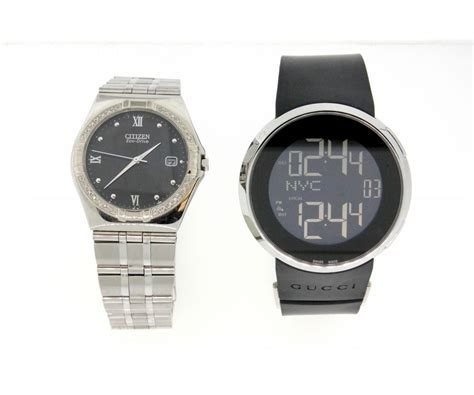 clock rubber st 1 s st steel gucci duo time digital