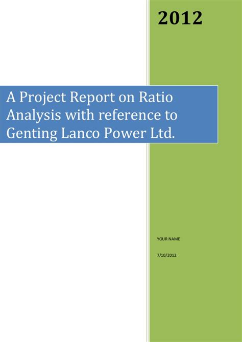 Mba Ratio Analysis Project by Report On Ratio Analysis