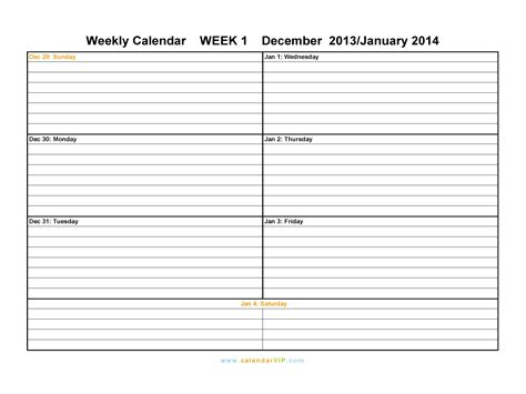 2014 weekly calendar template 2013 free printable calendars style 2 models picture