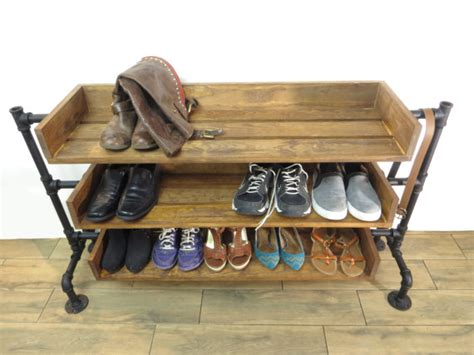 Handmade Shoe Rack - industrial pipe shoe rack shoe storage handmade shoe