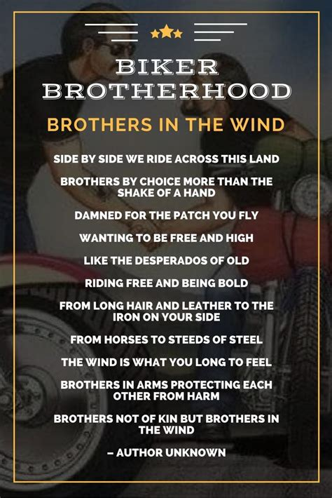 Motorradfahren Gedicht by Brothers In The Wind The Biker Brotherhood Poem