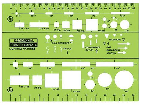 rapidesign r 327 lighting fixtures drafting template