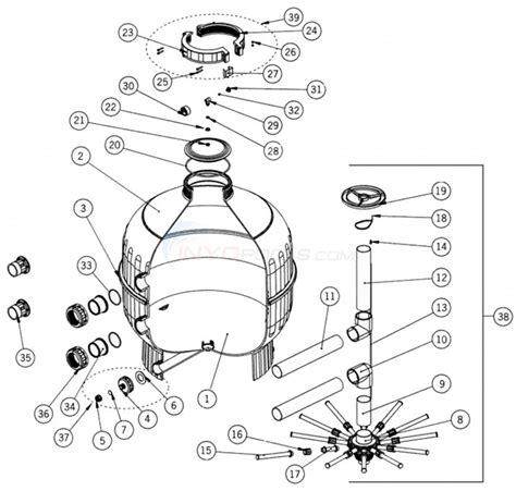 sand filter parts diagram astral cantabric side mount sand filter 36 quot parts