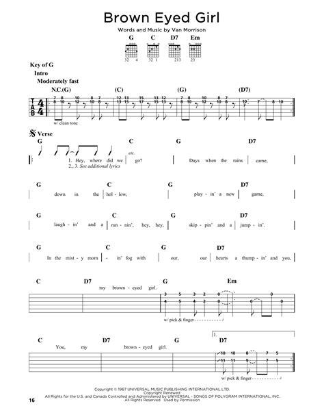 printable lyrics for brown eyed girl brown eyed girl sheet music by van morrison guitar lead